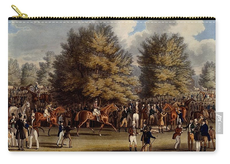 Epsom Carry-all Pouch featuring the drawing Saddling In The Warren, Print Made by James Pollard