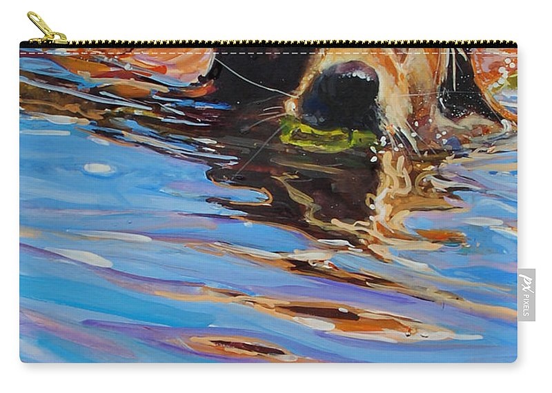 Golden Retriever Carry-all Pouch featuring the painting Sadie Has A Ball by Molly Poole