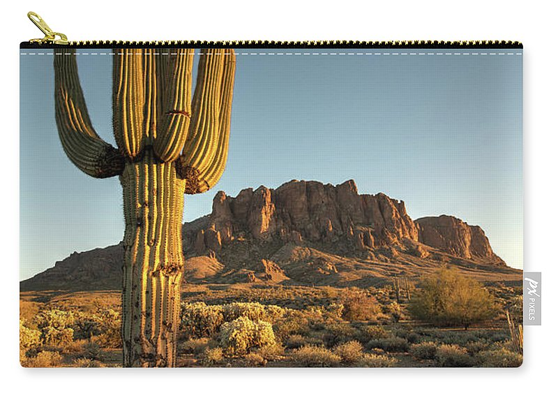 Saguaro Cactus Carry-all Pouch featuring the photograph Saguaro Cactus And Superstition by Kjschoen