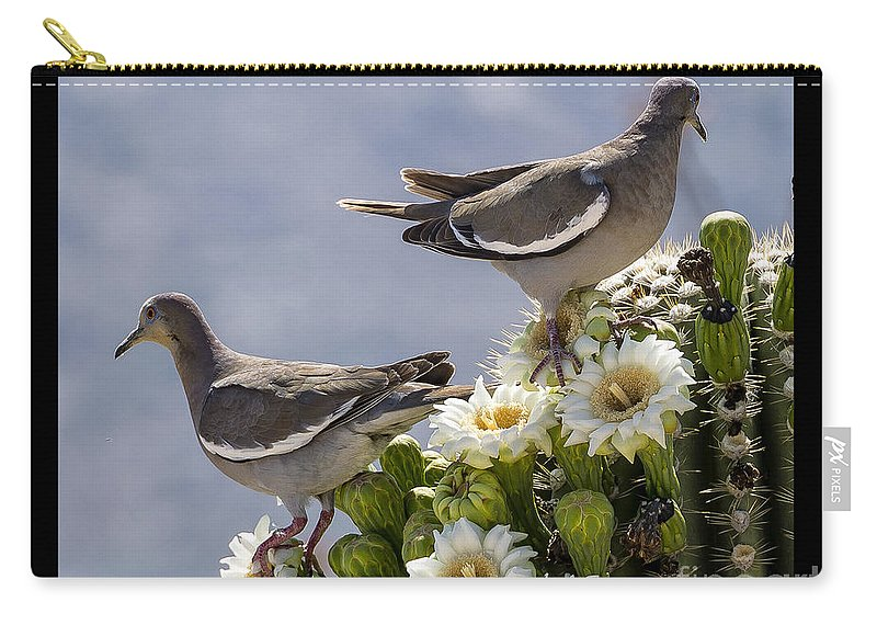 Cactus Carry-all Pouch featuring the photograph Saguaro Cactus Flower 7 by Larry White