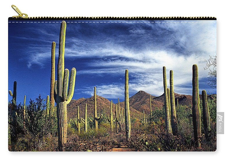 Art Carry-all Pouch featuring the photograph Saguaro Cactuses In Saguaro National Park by Randall Nyhof