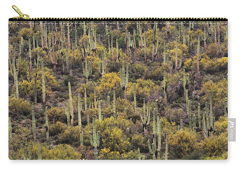 Saguaro Forest At The Foot Of Four Peaks Carry-all Pouch featuring the photograph Saguaro Forest At The Foot Of Four Peaks by Tom Janca