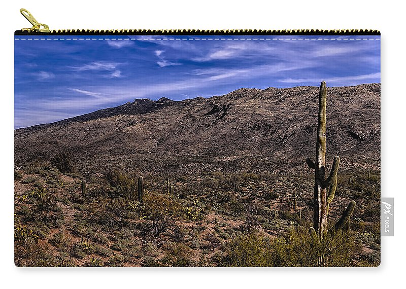 2014 Carry-all Pouch featuring the photograph Saguaro View No.1 by Mark Myhaver