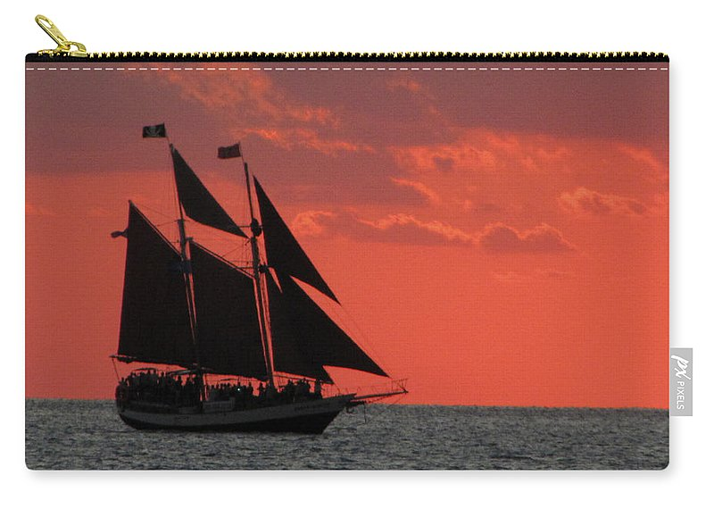 Sunset Carry-all Pouch featuring the photograph Key West Sunset Sail 5 by Bob Slitzan