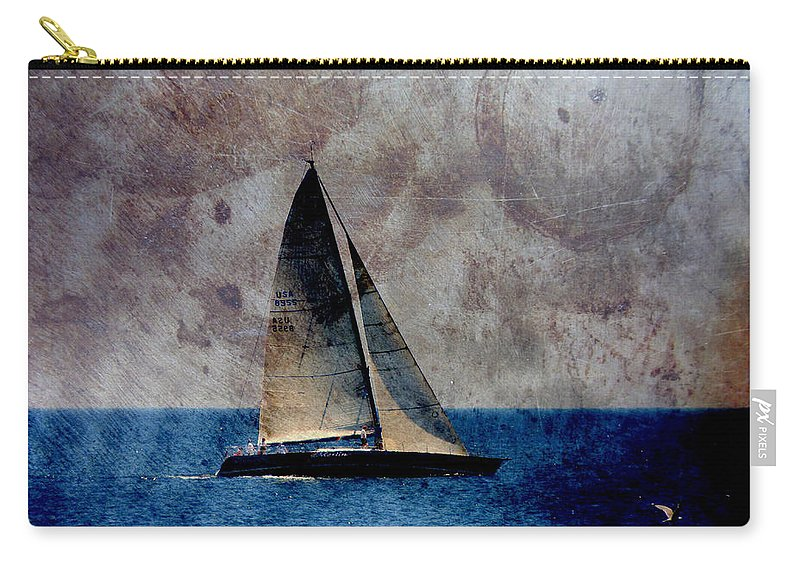 Lake Michigan Carry-all Pouch featuring the digital art Sailboat Bird W Metal by Anita Burgermeister