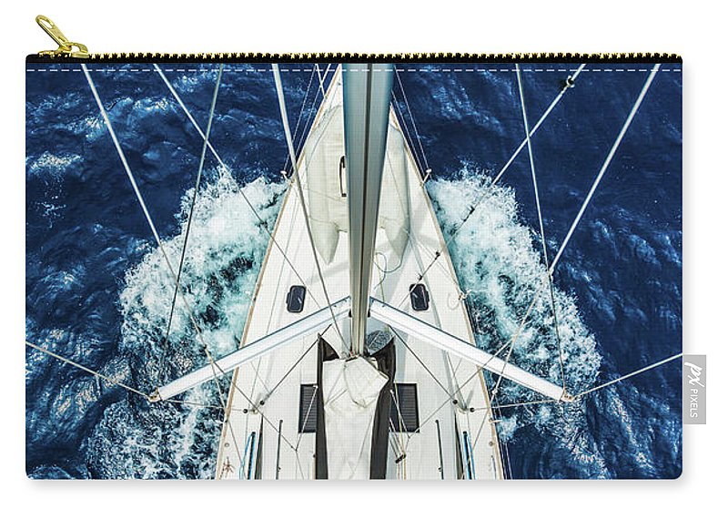 Adriatic Sea Carry-all Pouch featuring the photograph Sailboat From Above by Mbbirdy