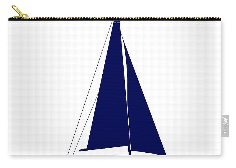 Graphic Art Carry-all Pouch featuring the photograph Sailboat In Navy And White by Jackie Farnsworth