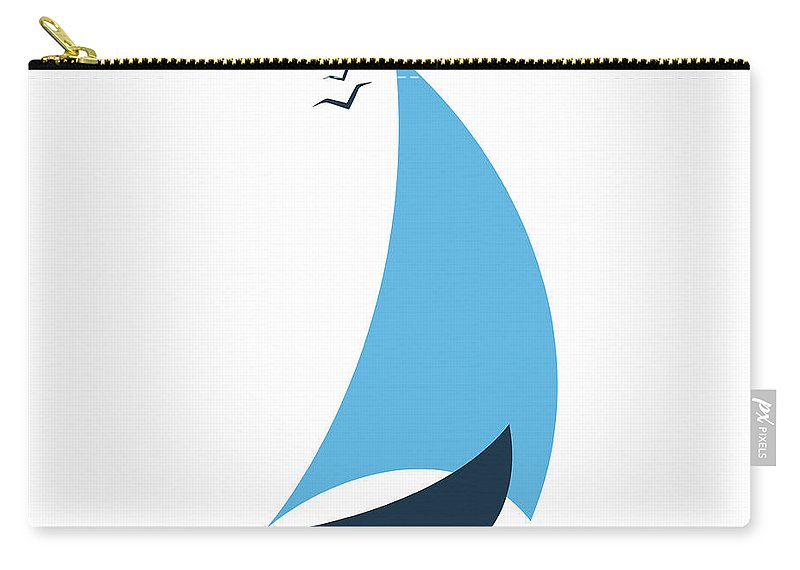 Curve Carry-all Pouch featuring the digital art Sailboat In The Sea. Concept For The by Liubov Trapeznykova