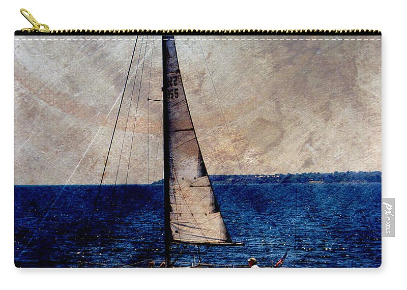 Lake Michigan Carry-all Pouch featuring the digital art Sailboat Slow W Metal by Anita Burgermeister