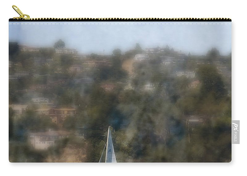 Daytime; Sailboat; Sport; Water; Blue; Sailing; Sail; Sea; Vessel; Boat; Blurry; Defocused; Land; Hill; San Francisco; Bay; California; United States; West Coast; Recreation Carry-all Pouch featuring the photograph Sailing Along The Shore by Margie Hurwich