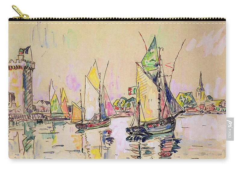 Voiliers; Sailboats; Boats; Boat; Vendee; Port; Harbour; Boating Carry-all Pouch featuring the painting Sailing Boats At Les Sables D Olonne by Paul Signac
