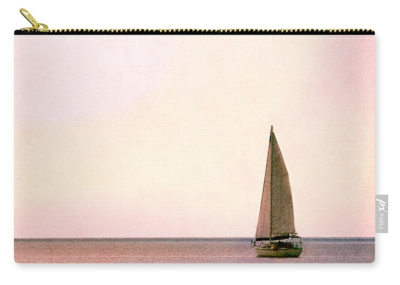 Daytime; Sailboat; Sport; Water; Blue; Pink; Sunrise; Sunset; Gulf; Ocean; Sailing; Sail; Sea; Vessel; Boat; Alone; Loneliness; Freedom; Horizon Carry-all Pouch featuring the photograph Sailing Into The Sunset by Margie Hurwich