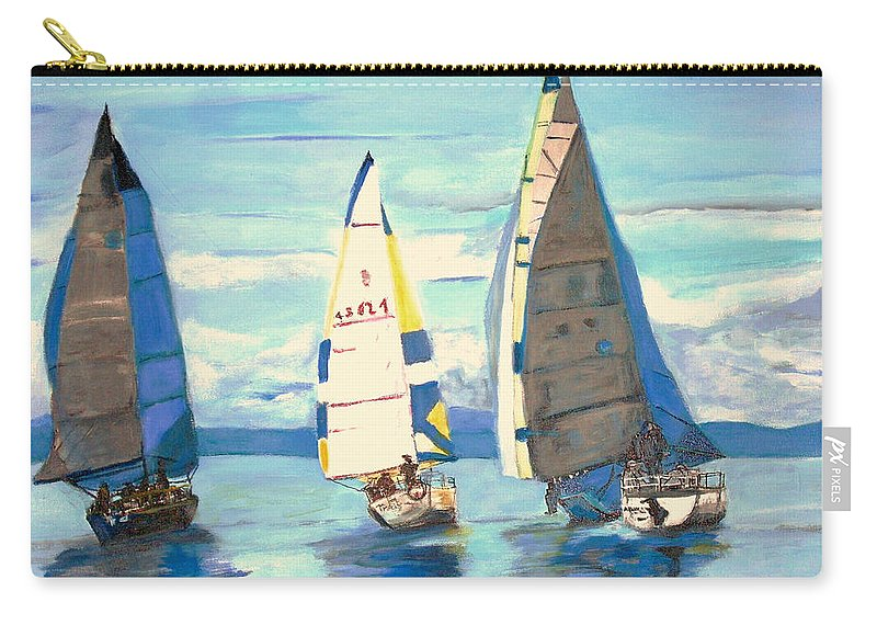 Seascape Carry-all Pouch featuring the painting Sailing Regatta At Port Hardy by Teresa Dominici