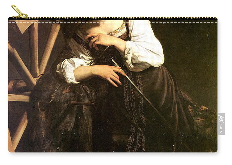 Caravaggio Carry-all Pouch featuring the digital art Saint Catherine Of Alexandria by Caravaggio