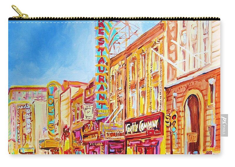 Paintings Of Montreal Carry-all Pouch featuring the painting Saint Catherine Street Montreal by Carole Spandau