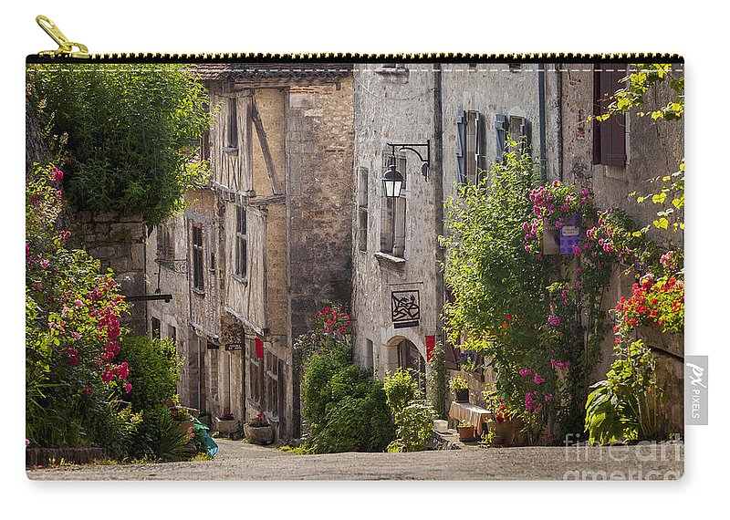 Buildings Carry-all Pouch featuring the photograph Saint Cirq Street by Brian Jannsen