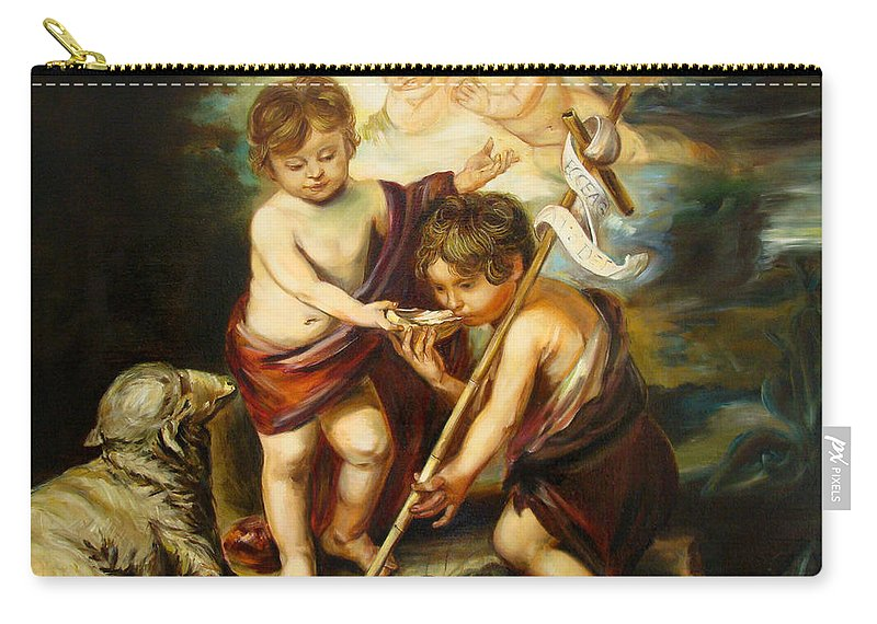 Classic Art Carry-all Pouch featuring the painting Saint John Baptist by Silvana Abel
