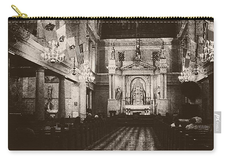 Church Carry-all Pouch featuring the photograph Saint Louis Cathedral New Orleans Black And White by Kathleen K Parker
