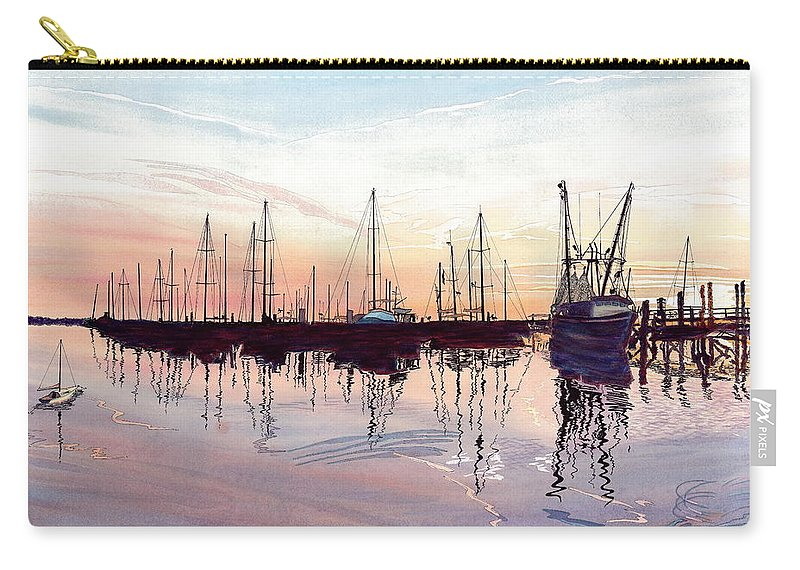 Fiery Sunset Carry-all Pouch featuring the painting Saint Marys Marina  Shadows Light And Fire by Joel Deutsch
