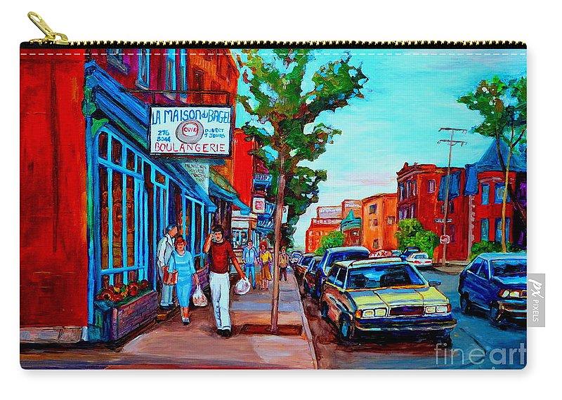 St.viateur Bagel Shop Carry-all Pouch featuring the painting Saint Viateur Bagel Shop by Carole Spandau