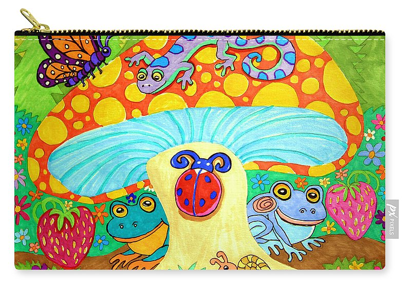 Salamander Carry-all Pouch featuring the drawing Salamander And Friends by Nick Gustafson