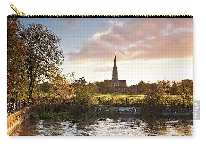 Tranquility Carry-all Pouch featuring the photograph Salisbury Cathedral And The River Avon by Julian Elliott Photography