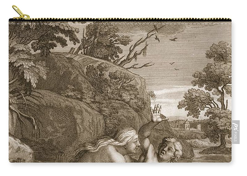 Metamorphosis Carry-all Pouch featuring the drawing Salmacis And Hemaphroditus United by Bernard Picart