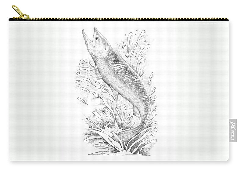 Wildlife Carry-all Pouch featuring the drawing Salmon by Lawrence Tripoli