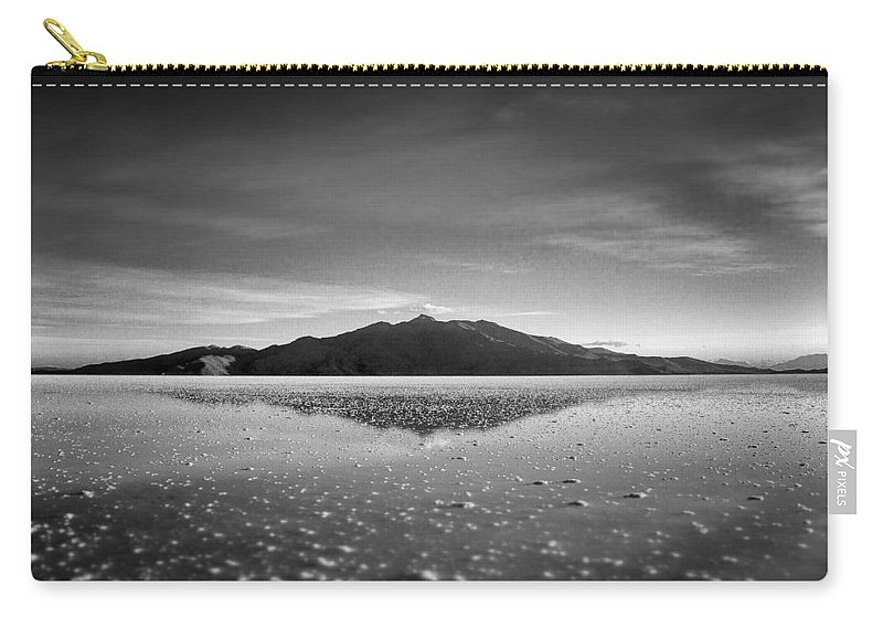 Salt Flat Carry-all Pouch featuring the photograph Salt Cloud Reflection Black And White Select Focus by For Ninety One Days