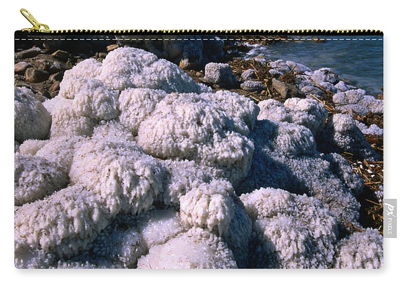 Mineral Carry-all Pouch featuring the photograph Salt Formations On The Shores Of The by John Elk
