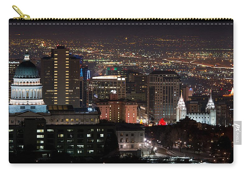 Salt Lake City Carry-all Pouch featuring the photograph Salt Lake City Lights by Dustin LeFevre