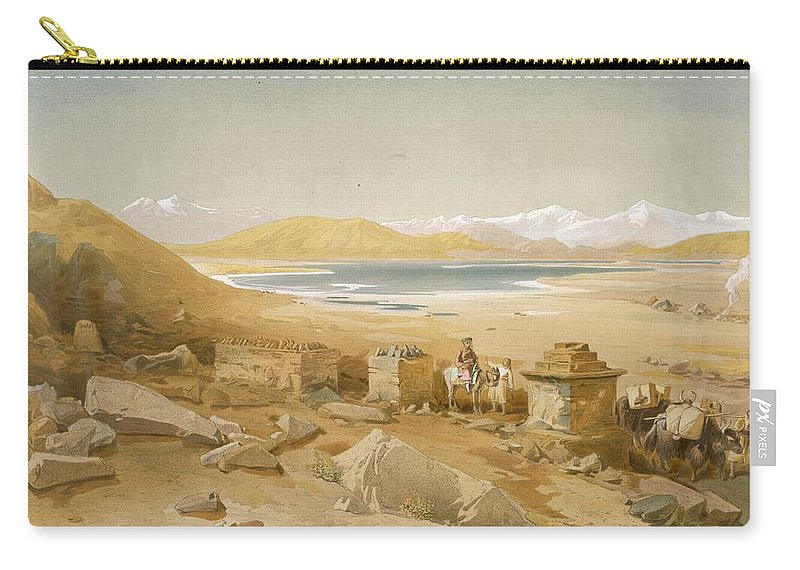 Indian Carry-all Pouch featuring the drawing Salt Lake - Thibet, From India Ancient by William 'Crimea' Simpson