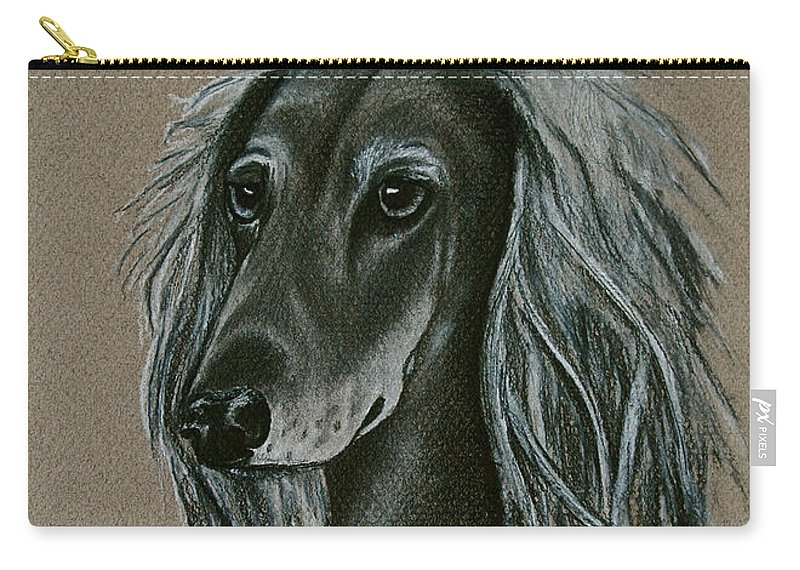 Hound Carry-all Pouch featuring the drawing Saluki by Susan Herber