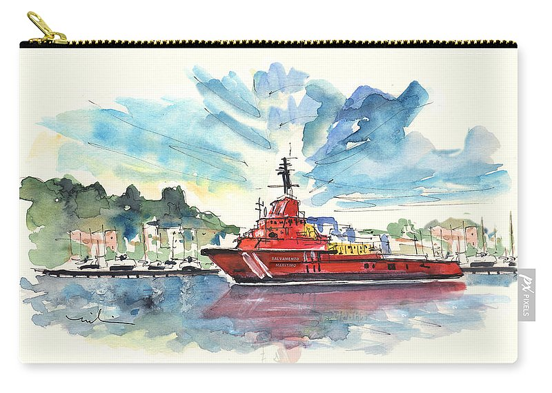Travel Carry-all Pouch featuring the painting Salvage Ship In Cartagena by Miki De Goodaboom