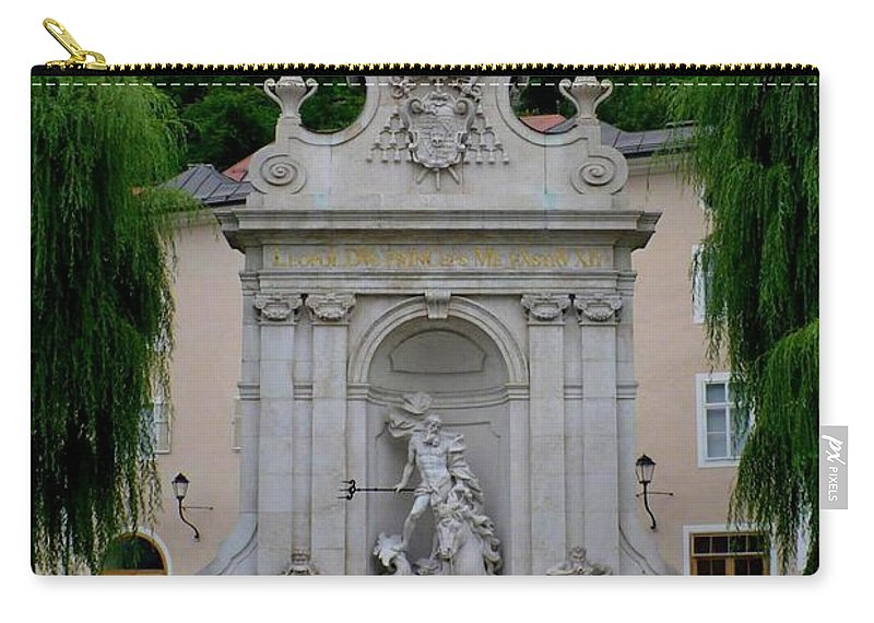 Salzburg Carry-all Pouch featuring the photograph Salzburg Castle With Fountain by Carol Groenen