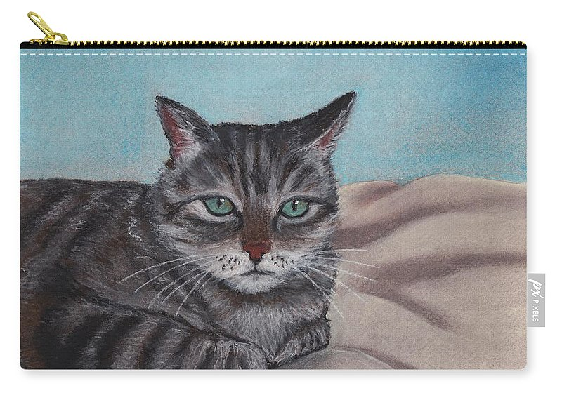 Cat Carry-all Pouch featuring the painting Sam by Anastasiya Malakhova