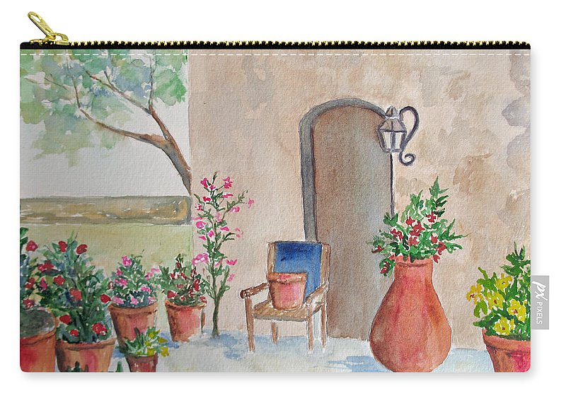 Convento Garden Carry-all Pouch featuring the painting San Antonio Mission by Patricia Beebe
