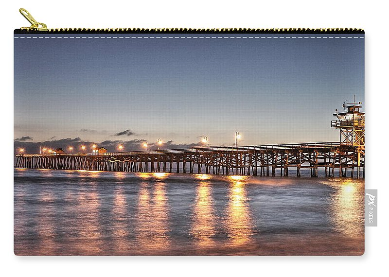 Pier At Night Carry-all Pouch featuring the photograph San Clemente Pier At Night by Richard Cheski