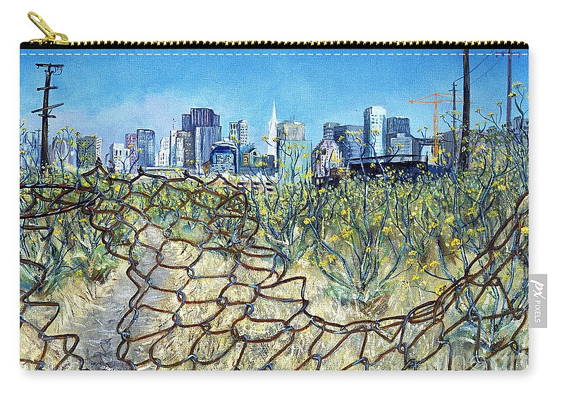 Urban Landscape Painting Carry-all Pouch featuring the painting San Francisco And Flowery Vagabond Path Of Yesterday by Asha Carolyn Young