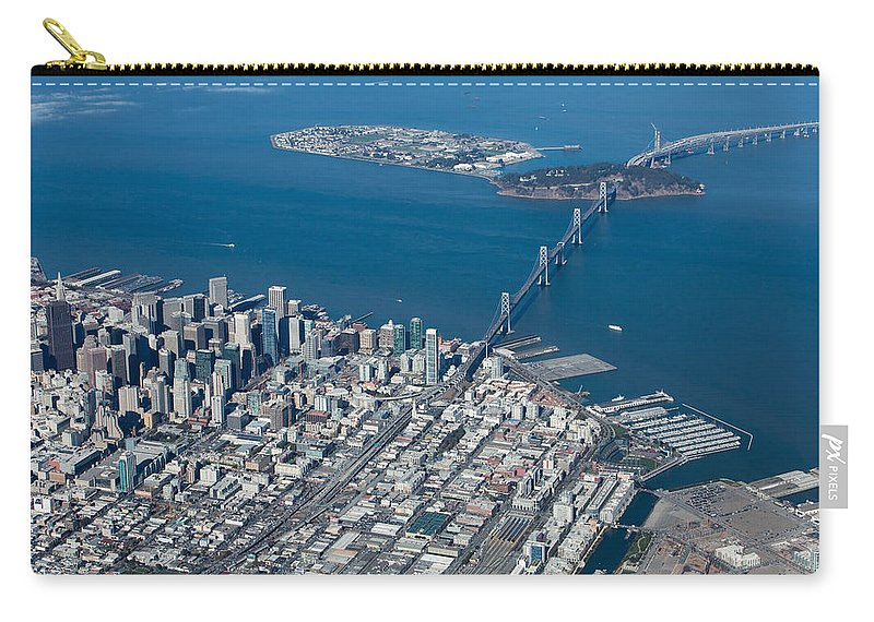 San Carry-all Pouch featuring the photograph San Francisco Bay Bridge Aerial Photograph by John Daly