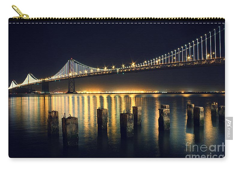 San Francisco Carry-all Pouch featuring the photograph San Francisco Bay Bridge Illuminated by Jennifer Ramirez