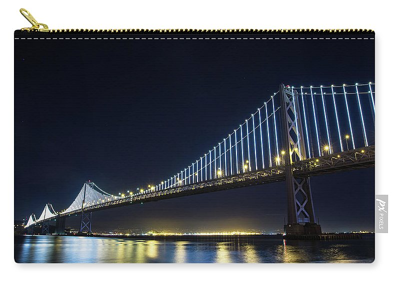 California Carry-all Pouch featuring the photograph San Francisco Bay Bridge With Led Lights by Halbergman