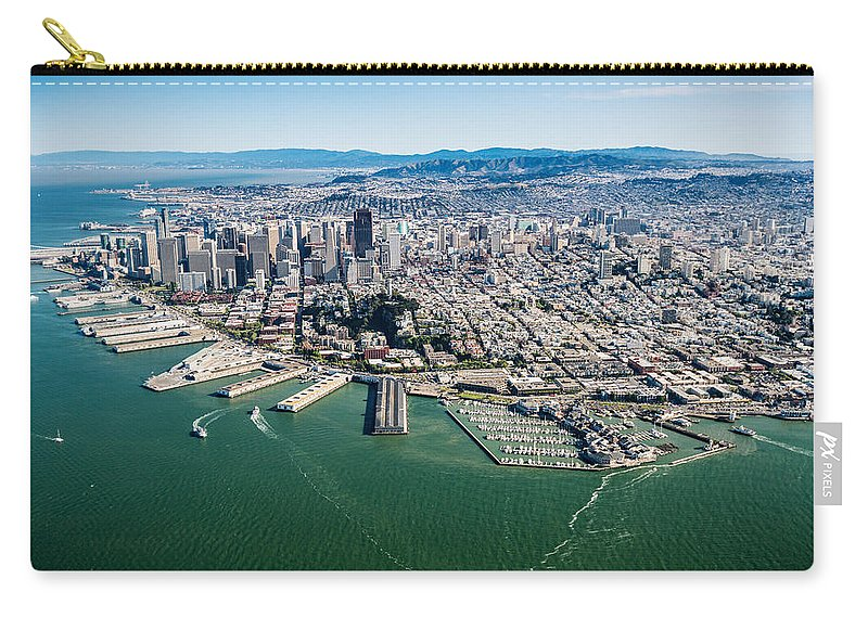San Carry-all Pouch featuring the photograph San Francisco Bay Piers Aloft by Steve Gadomski