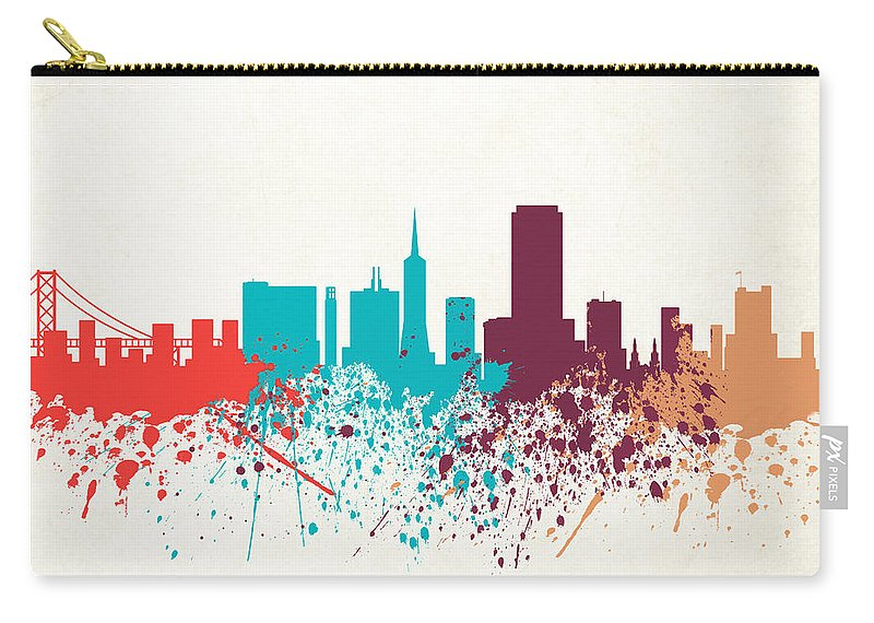 Amaerican Carry-all Pouch featuring the digital art San Francisco Skyline Paint by World Art Prints And Designs
