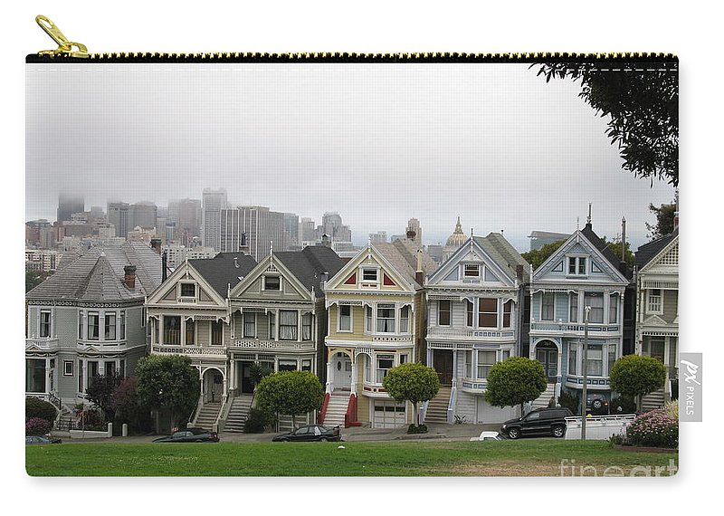 San Francisco Carry-all Pouch featuring the photograph San Francisco - The Painted Ladies I by Christiane Schulze Art And Photography