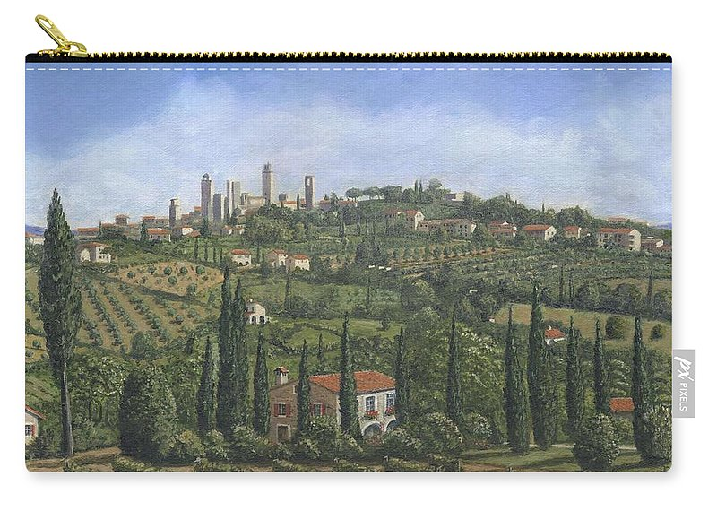 San Gimignano Carry-all Pouch featuring the painting San Gimignano Tuscany by Richard Harpum