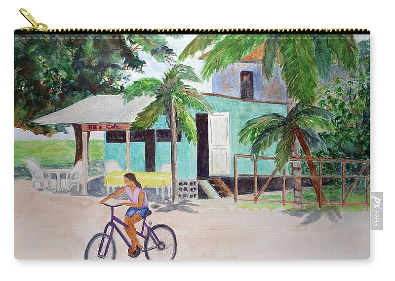 San Pedro Carry-all Pouch featuring the painting San Pedro Cafe by Patricia Beebe