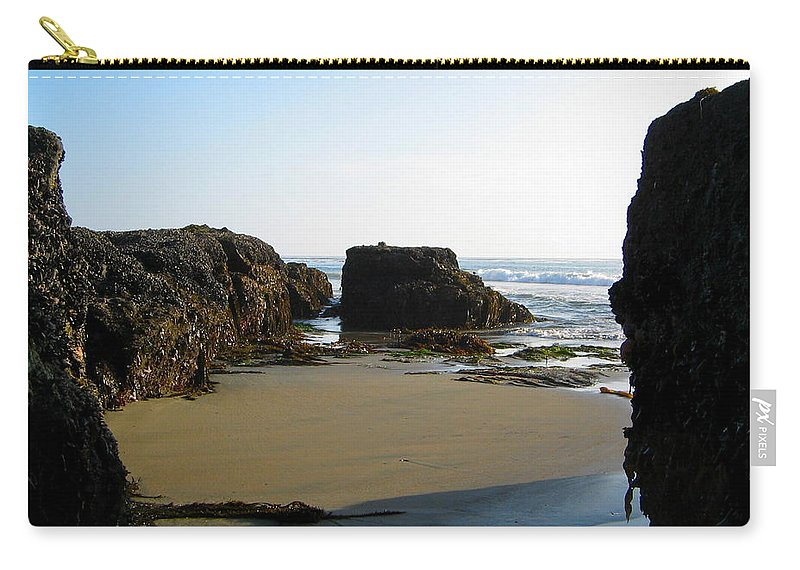 Cliffs Carry-all Pouch featuring the photograph San Simeon Beach by Denise Mazzocco