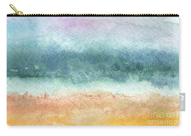 Abstract Carry-all Pouch featuring the painting Sand and Sea by Linda Woods