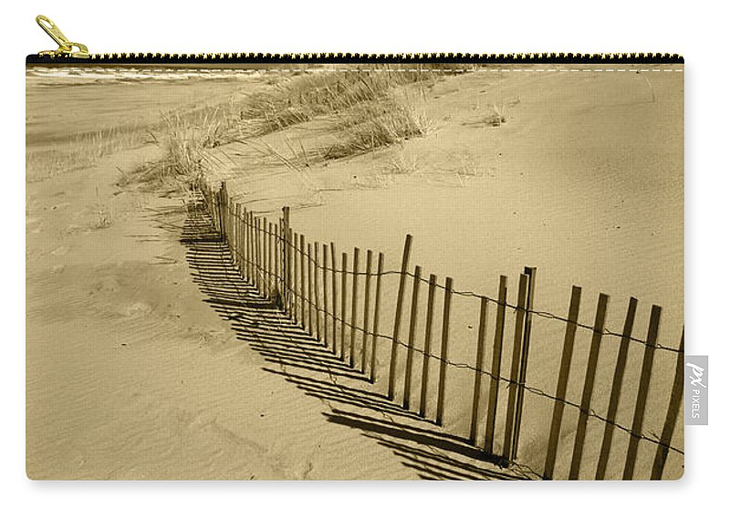 Sand Dunes Carry-all Pouch featuring the photograph Sand Dunes And Fence by Timothy Johnson